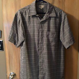Haggar Gray/ White Plaid Button Shirt Sz M
